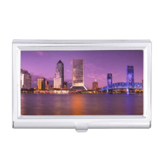 Jacksonville Florida Skyline at Night Business Card Holder