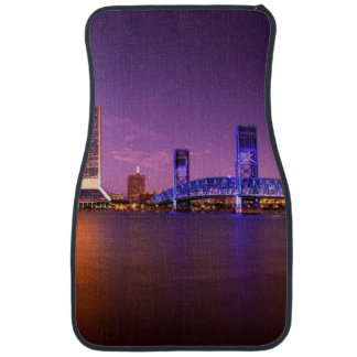 Jacksonville Florida Skyline at Night Car Mat