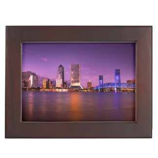 Jacksonville Florida Skyline at Night Keepsake Box