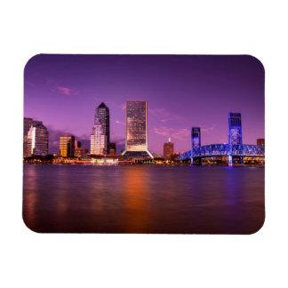 Jacksonville Florida Skyline at Night Magnet