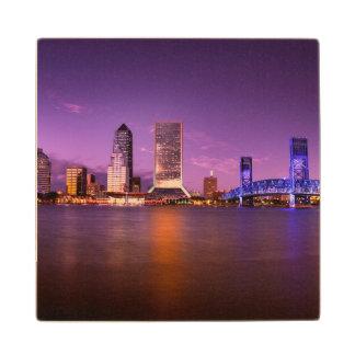 Jacksonville Florida Skyline at Night Maple Wood Coaster