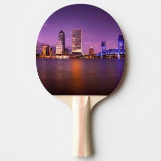 Jacksonville Florida Skyline at Night Ping Pong Paddle