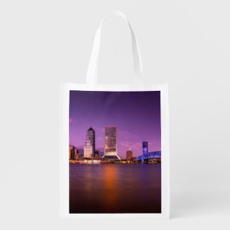 Jacksonville Florida Skyline at Night Reusable Grocery Bag