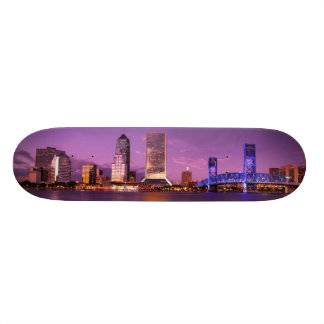 Jacksonville Florida Skyline at Night Skateboard