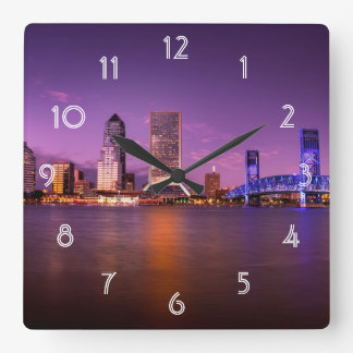 Jacksonville Florida Skyline at Night Square Wall Clock
