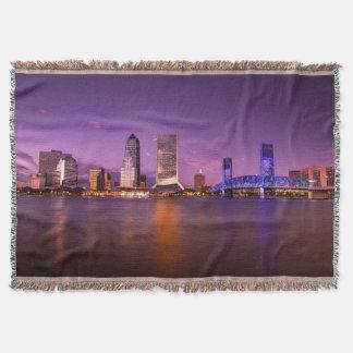 Jacksonville Florida Skyline at Night Throw Blanket