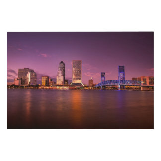 Jacksonville Florida Skyline at Night Wood Wall Art