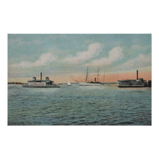 Jacksonville, Florida - View of Harbor with Boat Poster