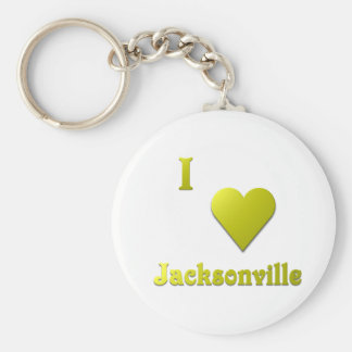 Jacksonville -- Gold Basic Round Button Key Ring