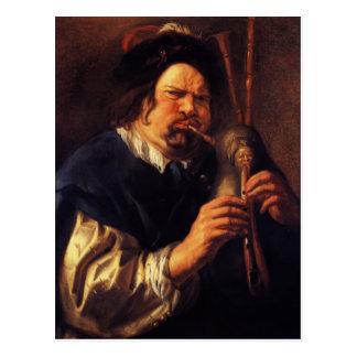 Jacob Jordaens- Self-Portrait as a Bagpipe Player Postcard