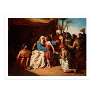 Jacob refusing to release Benjamin, 1829 (oil on c Postcard
