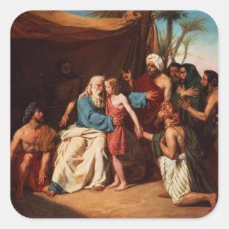 Jacob refusing to release Benjamin, 1829 (oil on c Square Sticker
