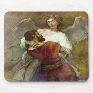 Jacob s struggle with the angel by Rembrandt Mouse Pad
