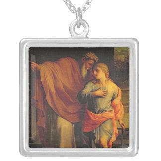 Jacob Sending his Son, Joseph Silver Plated Necklace