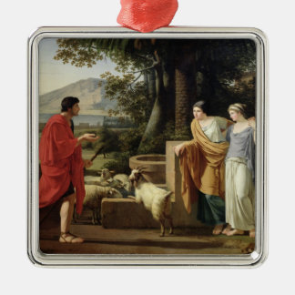 Jacob with the Daughters of Laban, 1787 Silver-Colored Square Decoration
