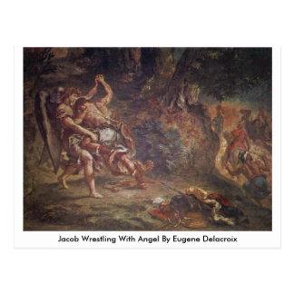 Jacob Wrestling With Angel By Eugene Delacroix Postcard