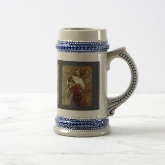 Jacob Wrestling With The Angel By Rembrandt Beer Stein