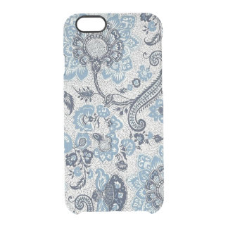 Jacobean Blue Paisley Pattern Clear iPhone 6/6S Case