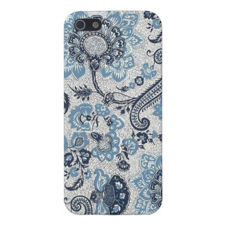 Jacobean Blue Paisley Pattern Cover For iPhone 5/5S