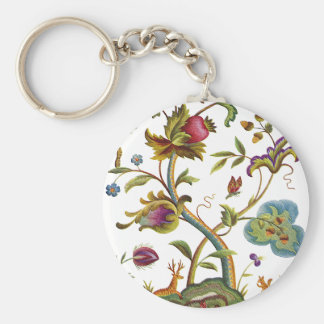 Jacobean Crewel Embroidery Tree of Life Basic Round Button Key Ring