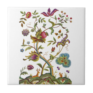 Jacobean Crewel Embroidery Tree of Life Small Square Tile