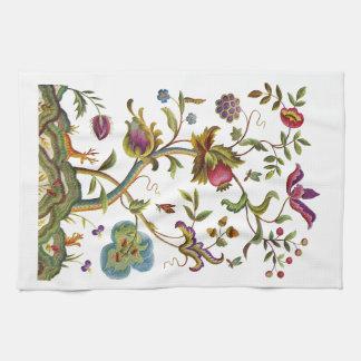 Jacobean Crewel Embroidery Tree of Life Tea Towel