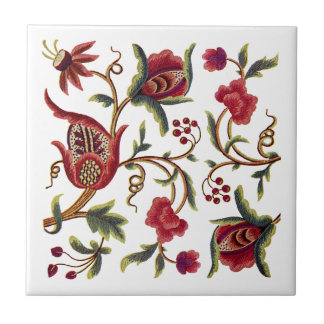 Jacobean Embroidery Small Square Tile
