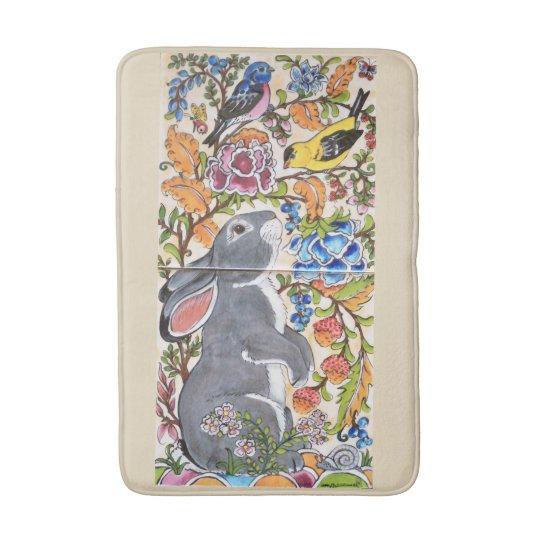 Jacobean Floral Bunny Rabbit and Birds Bath Mat