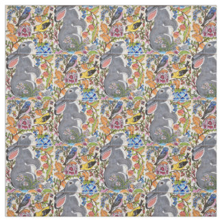 Jacobean Floral Bunny Rabbit Birds Designer Fabric