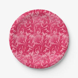 Jacobean Flower Damask, Fuchsia and Light Pink Paper Plate