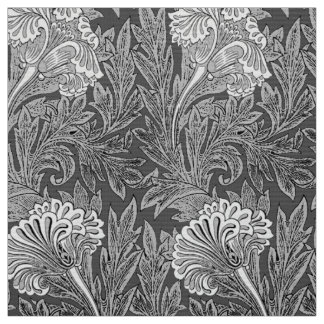Jacobean Flower Damask, Gray / Grey and White Fabric