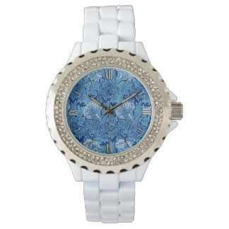 Jacobean Flower Damask, Navy, Sky Blue and White Watch