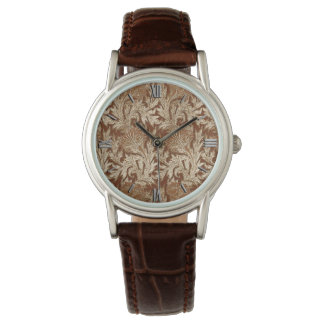 Jacobean Flower Damask, Taupe Tan and Cream Watch