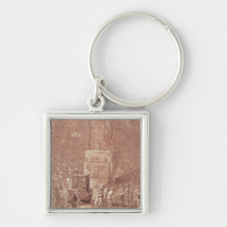 Jacobin Club During the Revolution Silver-Colored Square Key Ring