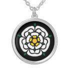 Jacobite - Stuart - York Rose Silver Plated Necklace