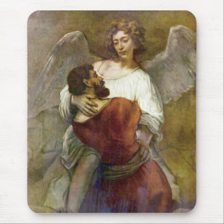 Jacob's struggle with the angel by Rembrandt Mouse Pad