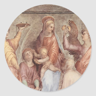 Jacopo Pontormo- Mary with Christ Child and Saints Round Stickers