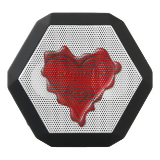 Jacqueline. Red heart wax seal with name Jacquelin Black Bluetooth Speaker