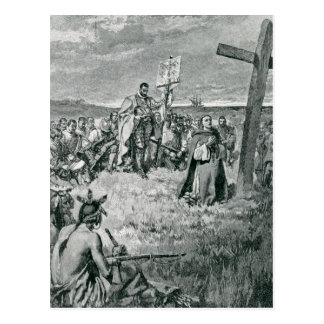 Jacques Cartier  Setting up a Cross at Gaspe Postcard