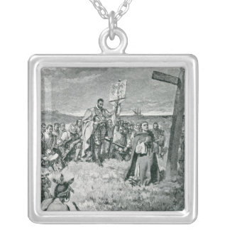 Jacques Cartier  Setting up a Cross at Gaspe Silver Plated Necklace