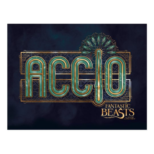 Jade Art Deco Accio Spell Graphic Postcard