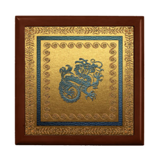 Jade Dragon Tile Gift Box, Golden Oak Gift Box