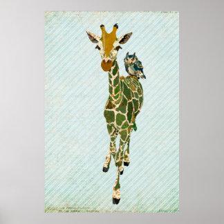 Jade Giraffe & Owl Art Poster