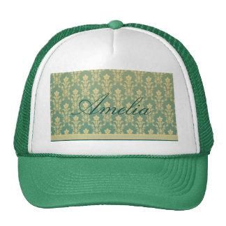 Jade golden vintage damask wood wall antique chic trucker hat