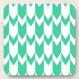 Jade Green and White Chevron Pattern. Coaster