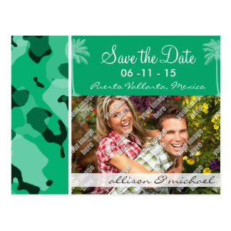 Jade Green Camo; Summer Palm Postcard