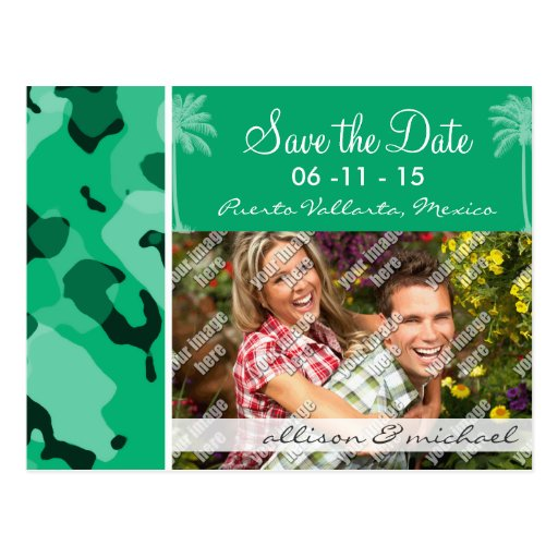 Jade Green Camo; Summer Palm Post Card