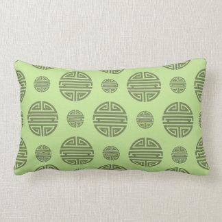 Jade Green Chinese Shou Character Pattern Lumbar Pillow