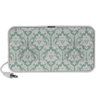 Jade Green Damask Pattern PC Speakers