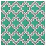 Jade Green Dark Grey Moroccan Quatrefoil #5DS Fabric